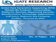 Global Next Generation Sequencing (NGS) Market (By Products - Consumables, Platforms, Services, Sequencing Services, Bioinformatics, Technology, Applications, End Users, Regions), Key Company Profiles - Forecast to 2025
