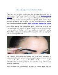 Enhance beauty with latest Eyebrow Tinting