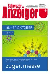 Schwyzer Anzeiger – Woche 42 – 18. Oktober 2019