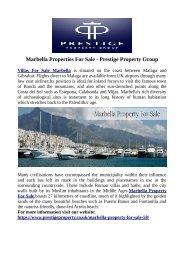Marbella Properties For Sale - Prestige Property Group