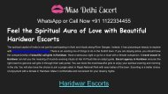 Feeling amazing with Haridwar escorts