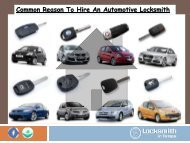 Common Reason To Hire An Automotive Locksmith