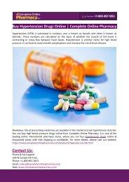 Buy Hypertension Drugs Online-Complete Online Pharmacy
