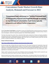 Convenience Foods Market Growth Rate Analysis, Demand and Forecast to 2023