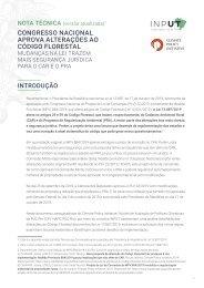 Nota Tecnica Congresso Nacional aprova alteracoes Codigo Florestal
