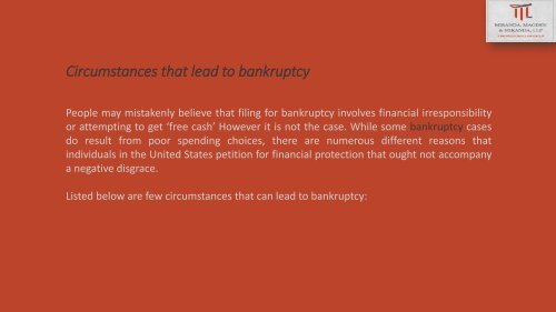 Circumstances that lead to bankruptcy