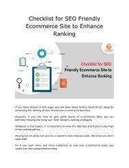 Checklist for SEO Friendly Ecommerce Site to Enhance Ranking