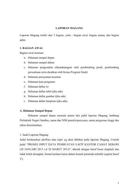 Contoh Daftar Isi Untuk Laporan Guru Paud