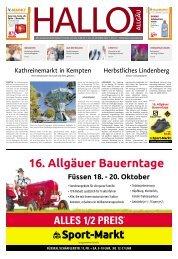 Hallo-Allgäu Kempten, Oberallgäu, Westallgäu vom Samstag, 19.Oktober