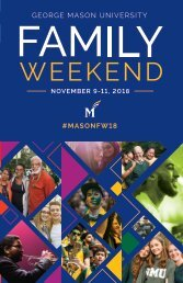 George Mason University – Family Weekend Schedule Booklet, 2018