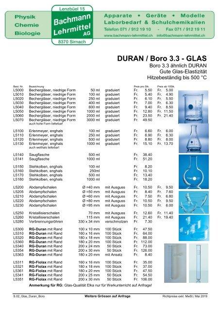 Glaswaren   Bachmann Lehrmittel