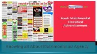 Knowing all About Matrimonial ad Agency