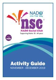 NADO Social Club Activity Guide - Nov/Dec 2019
