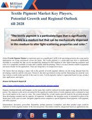 Textile Pigment Market Key Players, Potential Growth and Regional Outlook till 2028