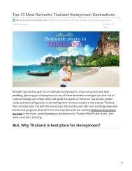 Top 10 Most Romantic Thailand Honeymoon Destinations