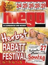 Herbst-Rabatt-Festival bei mega-Möbel in Schwandorf und Weiden