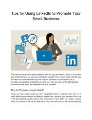 Tips for Using LinkedIn to Promote Your Small Business