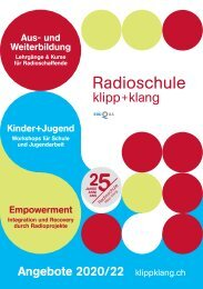Angebots-Broschüre 2020-22 - Radioschule klipp+klang