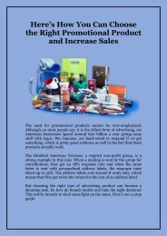 Here's How You Can Choose the Right Promotional Product and Increase Sales