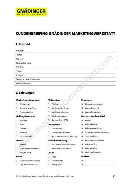 Ausführliches Briefing Formular Der Marketingwerkstatt Als Pdf