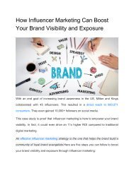 How Influencer Marketing Can Boost Your Brand Visibility and Exposure