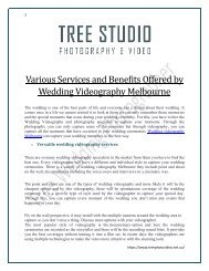 Various Services and Benefits Offered by Wedding Videography Melbourne