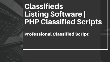 Classified Scripts - PHP Classified Scripts
