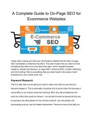 A Complete Guide to On-Page SEO for Ecommerce Websites