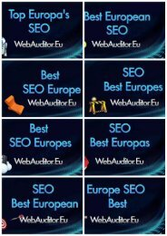 Best SEO in Europe #WebAuditor.Eu for Search Marketing Top European