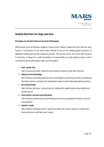 Healthy Nutrition for Dogs and Cats - Mars