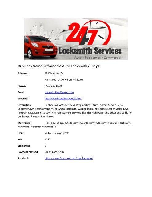Affordable Auto Locksmith Keys