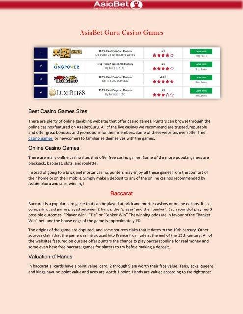 Online Casino Sites Asiabet Guru