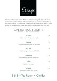 Thatched Cottage Gin Menu