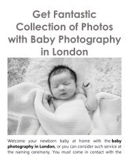 Get Fantastic Collection of Photos with Baby Photography in London