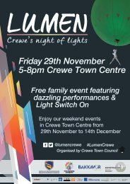 Lumen Crewe & Lumen weekends 29th Nov to 14th Dec 2019