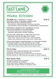 Serenade Fast Lane - Warm Kitchen & Burgers 30.10-