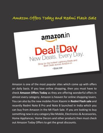 Amazon Offers Today and Redmi Flash Sale