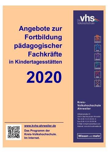 Angebote zur Fortbildung pädagogischer Fachkräfte in Kindertagesstätten 2020