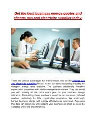 Get the best business energy quotes and change gas and electricity supplier today