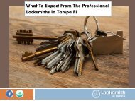 What To Expect From The Professional Locksmiths In Tampa Fl