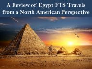 A Review of Egypt FTS Travels from a North American Perspective