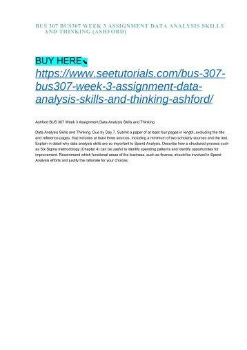 BUS 307 BUS307 WEEK 3 ASSIGNMENT DATA ANALYSIS SKILLS AND THINKING (ASHFORD)