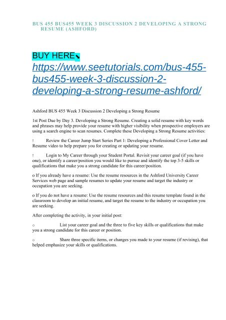 Bus 455 Bus455 Week 3 Discussion 2 Developing A Strong Resume