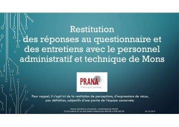 Restitution unique des questionnaires et entretiens avec le service administratif et pistes  couleurs