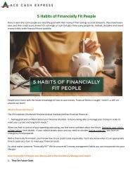 5 Habits of Financially Fit People - ACE Cash Express