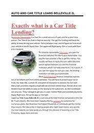 Get Auto Title Loans Belleville IL | 618-744-0616