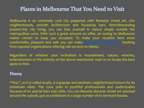 Places in Melbourne that you need to visit