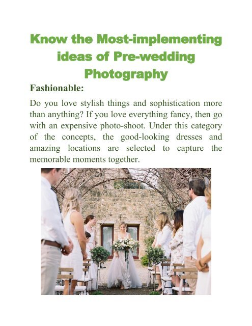 Know the Most-implementing ideas of Pre-wedding Photography