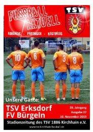 10.11.2019 - Stadionzeitung TSV Erksdorf / FV Bürgeln