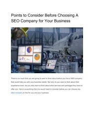 Points to Consider Before Choosing A SEO Company for Your Business